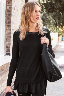 Woven Hem Sweater