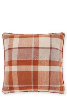 Ginger Rustic Woven Check Cushion