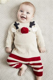 Reindeer Knitted Romper (0mths-2yrs)