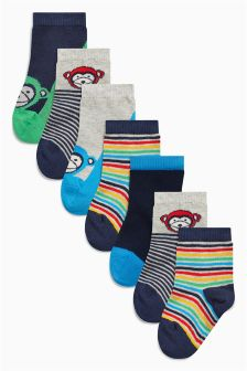 Bright Monkey Socks Seven Pack (Younger Boys)