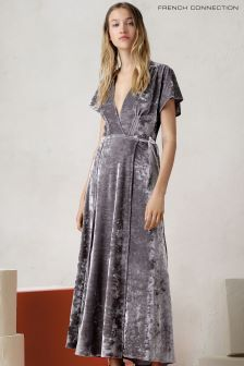 French Connection Grey Aurore Crushed Velvet Maxi