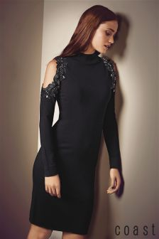 Coast Black Fallon Embellished Knit Dress
