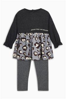 动物印花连衣裙和打底裤套装 (3个月-6岁)