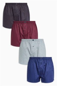 Geo Woven Boxers Four Pack