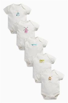 Character Short Sleeved Bodysuits Five Pack (0mths-2yrs)