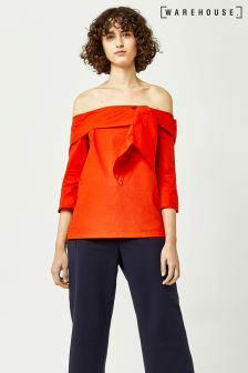Warehouse Red Tie Front Bardot Top