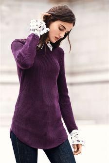Mock Shirt Layer Sweater