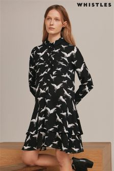 Whistles Black Bird Print Dress