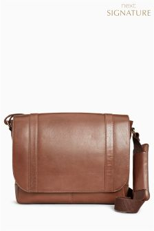 Signature Leather Messenger Bag