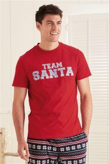 Majica z napisom Team Santa