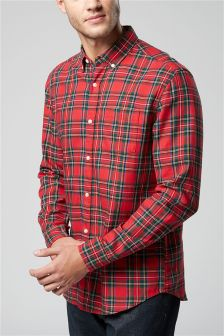 Red Long Sleeve Tartan Check Shirt (Mens)