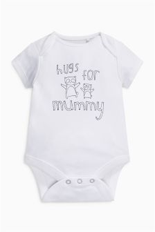 Hugs For Mummy Slogan Short Sleeved Bodysuit (0-18mths)