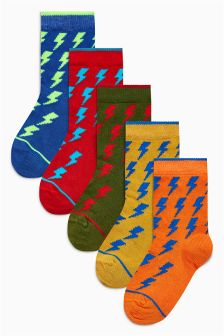 Lightning Bolt Socks Five Pack (Older Boys)