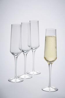 Set Of 4 Optic Rib Champagne Flutes
