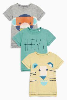 Short Sleeve Animals T-Shirts Three Pack (3mths-6yrs)