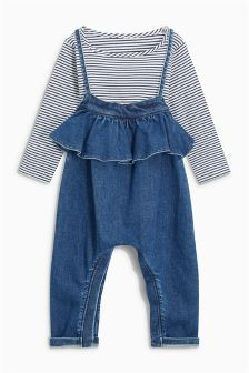 Ruffle Playsuit And T-Shirt Set (3mths-6yrs)