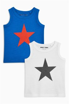 Star Flock Print Vests Two Pack (3mths-6yrs)