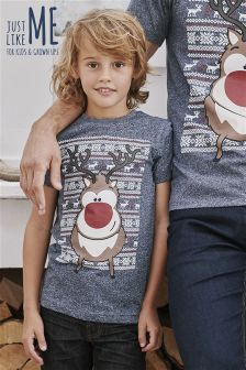 Boys Christmas Rudolph T-Shirt (3-16yrs)