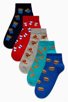 Fast Food Trainer Socks Five Pack (Older Boys)