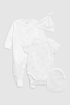 Sleepsuit, Short Sleeved Bodysuit, Bib And Hat (0-9mths)