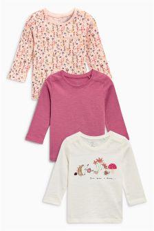 卡通图案长袖T恤三件装 (3个月-6岁)