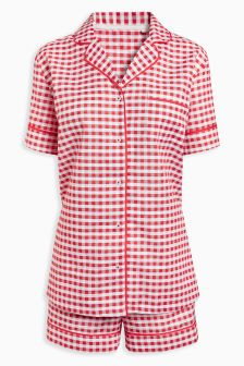 Gingham Button Through Short Set