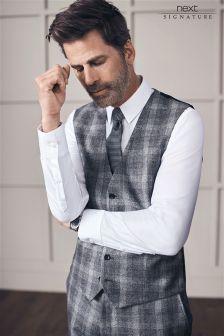 Signature Wool Check Slim Fit Suit: Waistcoat