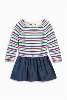 Stripe Chambray/Knit Mix Dress (0mths-2yrs)