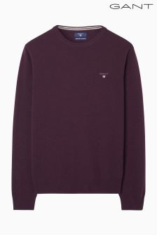 Gant Burgundy Super Fine Lambswool Crew Jumper