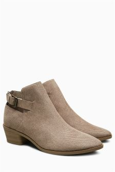 Cut-Out Buckle Ankle Boots