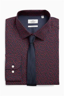 Ditsy Print Regular Fit Shirt And Tie Set