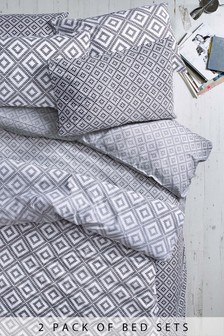 2 Pack Mono Ombre Geometric Bed Set