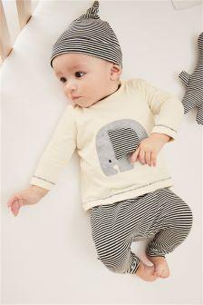 大象图案三件套 (0个月-2岁)