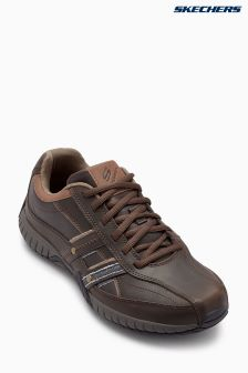 Skechers® Brown Bike Toe Leather Lace-Up