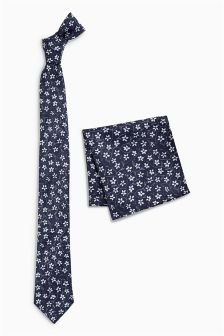 Ditsy Floral Print Tie And Pocket Square Set