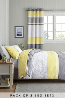 2 Pack Dotty Stripe Bed Set