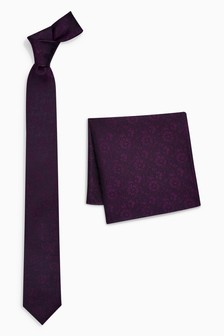 Silk Patterned Tie And Pocket Square Set