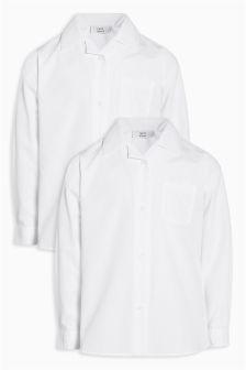 Две рубашки с длинным рукавом и воротником в виде лацканов (3-16 лет)