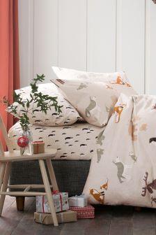 Комплект хлопкового постельного белья с начесом и звериным принтом