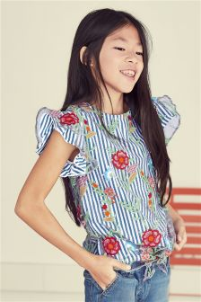Stripe Floral Embroidered Top (3-16yrs)