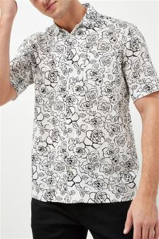 Short Sleeve Rose Printed Shirt