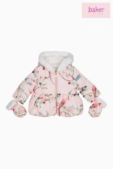 Baker By Ted Baker Floral Printed Padded Coat With Mittens