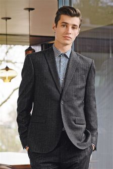 Textured Stripe Skinny Fit Suit