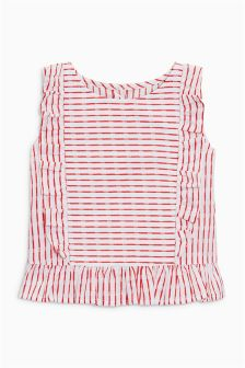 条纹褶边罩衫 (3个月-6岁)