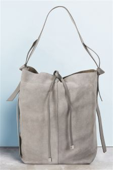Leather/Suede Mix Hobo Bag