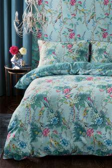Cotton Sateen Blue Birds Bed Set