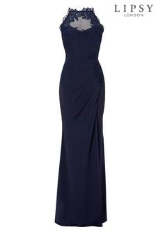 Платье макси с высокой горловиной и отделкой Lipsy