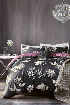 Cotton Sateen Dark Floral Bed Set