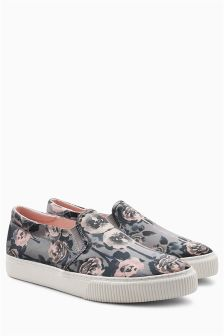 Floral Occasion Slip-On Skater Shoes