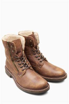 Leather Borg Zip Boot